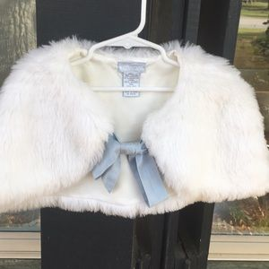 White faux fur cape with French Blue silk tie